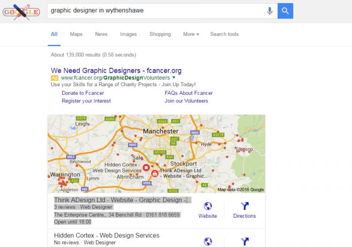 Screenshot from Think ADesign SEO Google Ranking